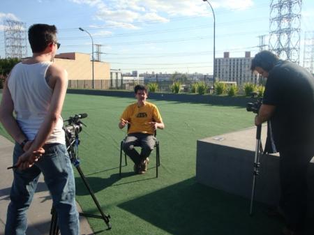 Gravando a entrevista com o Ayrton